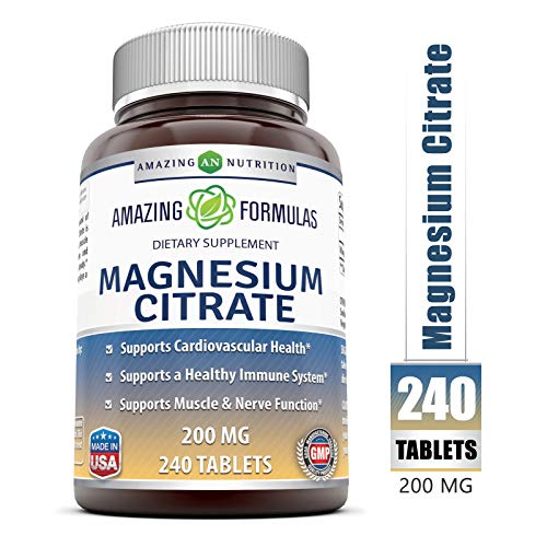 Amazing Formulas Magnesium Citrate Dietary Supplement - 200 Mg, 240 Tablets- Supports Cardiovascular Health, Immune System, Muscle & Nerve Functions*