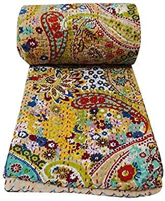 Indian Blanket Throw Quilt Vintage Handmade Twin 100/% Cotton Kantha Bed Cover