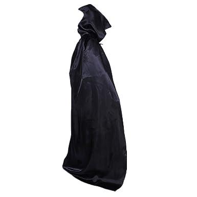 xiemushop Capa Larga con Capucha para Adultos Ninos Disfraz de Vampiro Cosplay Diablo Traje Medieval
