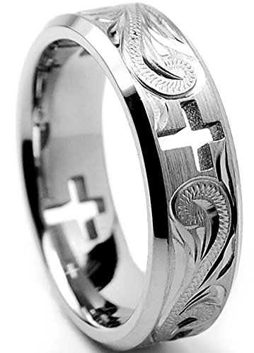 7MM Titanium Ring Wedding Band With Cross Cut Out and Engraved Floral Design Size 7.5 Cut Out Band Ring