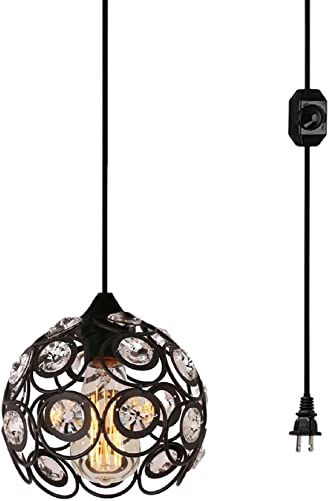 Surpars House Plug-in Crystal Pendant Light with 15 Cord, Dimmer Switch in Cord, 1-Light, Black