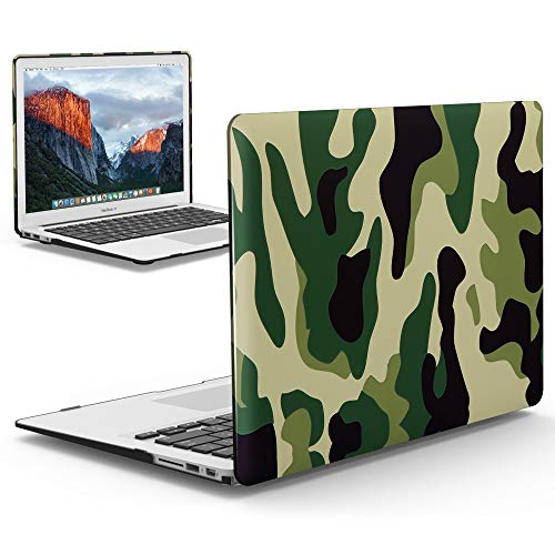 iBenzer MacBook Pro 13 Inch Case 2012-2015, Soft Touch Hard Case Shell Cover for Apple MacBook Pro 13 with Retina Display A1425 1502, Green Camouflage,MRD13CFGN