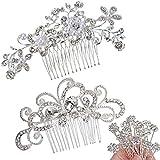 ANBALA Pack of 2 Bridal Wedding Hair Comb, Crystal Rhinestones Pearls Women Wedding Hair Comb with 20 Pcs Crystal Hair Pins Clips Headpiece for Brides