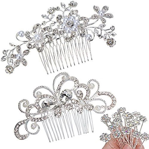 ANBALA Pack of 2 Bridal Wedding Hair Comb, Crystal Rhinestones Pearls Women Wedding Hair Comb with 20 Pcs Crystal Hair Pins Clips Headpiece for Brides by ANBALA
