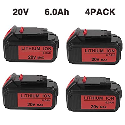 VANON 4Pack 20V MAX 6.0Ah DCB200 Lithium Ion Replacement Battery Compatible with Dewalt 20V Battery DCB204 DCB205 DCB206 DCB205-2 DCB201 DCB203 DCB181 DCB180 20V DCD/DCF/DCG/DCS Series Tool