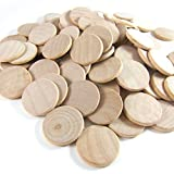Fantastic Deals Pack of 100 Unfinished Wood 1.5-Inch Circle Coins Buttons Wooden Craft Project Tokens