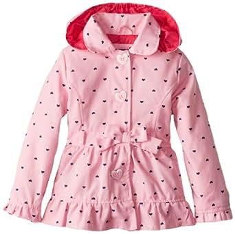 Pink Platinum Little Girls'  Polka Hearts Trench Rain Jacket, Pink, 2T