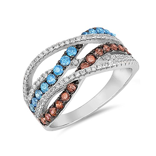.925 Sterling Silver Colored Cubic Zirconia Interlaced Ring ()