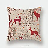 Custom Satin Pillowcase Protector Animals In Autumn Forest Pattern. Fall Leaves And Trees Seamless Background. Deer Vintage Christmas Elements. Reindeer Seamless Pattern Background. Editable Ve