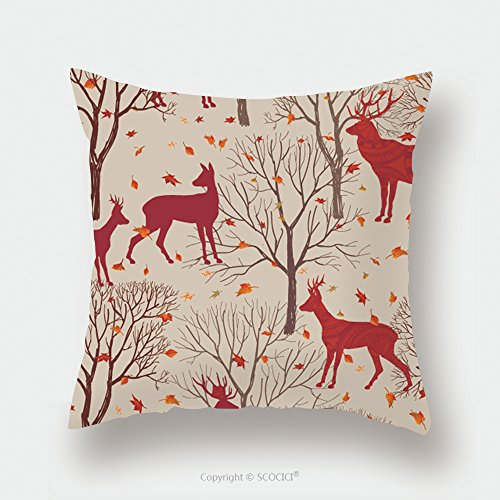 Custom Satin Pillowcase Protector Animals In Autumn Forest Pattern. Fall Leaves And Trees Seamless Background. Deer Vintage Christmas Elements. Reindeer Seamless Pattern Background. Editable Ve by chaoran