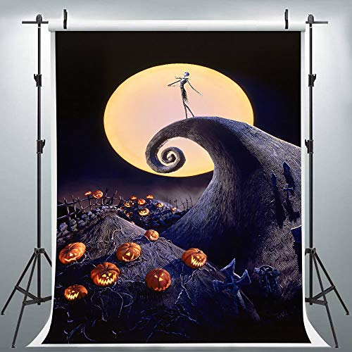 Halloween Night Full Moon Nightmare Horror Movie Backdrop for Party Photography, 6x9FT, Family Festival Pumpkin Jack Background, Photo Booth Studio Props DSLU202