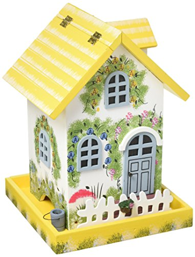 Home Bazaar Hand-Made Premium Flower Cottage Yellow Bird Feeder - Nature Friendly