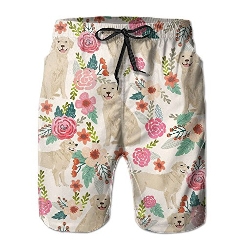 Retriever Mens Shorts - Golden Retriever Floral Dogs Summer Swim Trunks Surfing Running Swimming Watershorts Beach Shorts With Pockets For Men