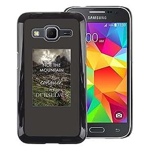 A-type Arte & diseño plástico duro Fundas Cover Cubre Hard Case Cover para Samsung Galaxy Core Prime (Conquer Yourself Inspiring Smart Quote)