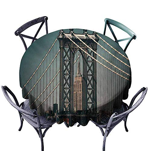 VIVIDX Spillproof Tablecloth,Scenery,Cityscape Landscape View with Bridge Empire State Building and Skyscrapes Picture Print,Party Decorations Table Cover Cloth,67 INCH,Teal