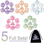 DND Dice, 5 x 7 Sets (35 Pieces) Polyhedron Dice for Dungeons & Dragons RPG MTG DND Tabletop Game with 1 F