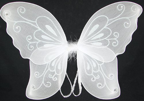 White Sparkling Fairy Costume Wings -