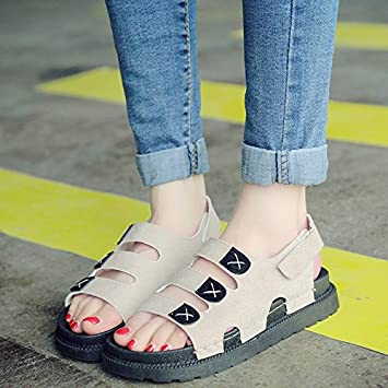LGK & FA Sommer Damen Sandalen Flache Unterseite Ferse und