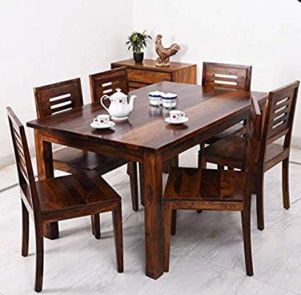 BM WOOD FURNITURE Sheesham Wood Dining Table 6 Seater | Dining Table Chair  Set | Natural Finish