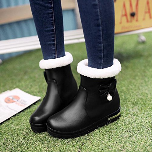 KHSKX-Das Kleine Kind Süße Plüsch Schuhe Aus Baumwolle Schuhe Herbst Winter Princess Kinderschuhe Mädchen Stiefel Stiefel Schuhe Junior Schülerinnen Der Sekundarschulebene. Black