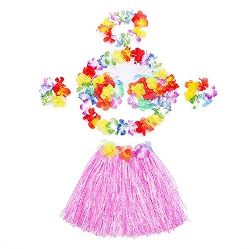 T-PERFECT LIFE Kids Hawaii Grass Hula Skirt Floral Leis Costume Suit (pink) (Hawaii Girl Halloween Costumes)