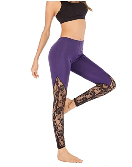 Amazon.com: FieerWomen Stretch Dry Cool Lace Splice Plus ...