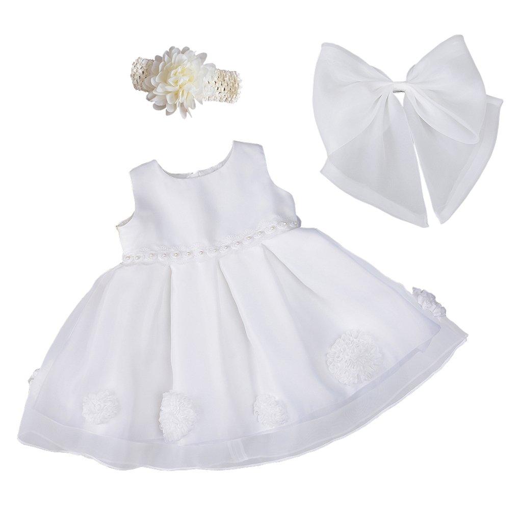 Xopzsiay Newborn Girls Pearl Waist Floral Christening Gown Baptism Dress with Headband