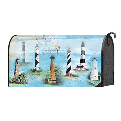 North Carolina Lights Map and Iconic Lighthouses 22 x 18 Standard Size Mailbox ()