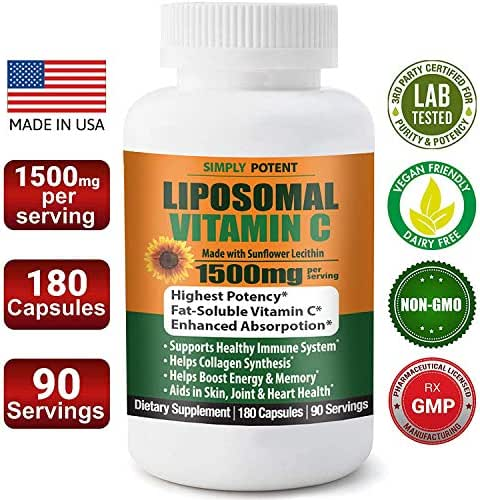 Liposomal Vitamin C 1500mg 180 Capsule 90 Serving NON GMO Vitamin C Natural Vegan High Bioavailable Vitamin C High Dose Fat Soluble Antioxidant Supports Immune System, Collagen, Skin & Heart. (1500mg)