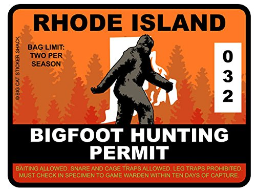 Bigfoot Hunting Permit - RHODE ISLAND (Bumper Sticker)
