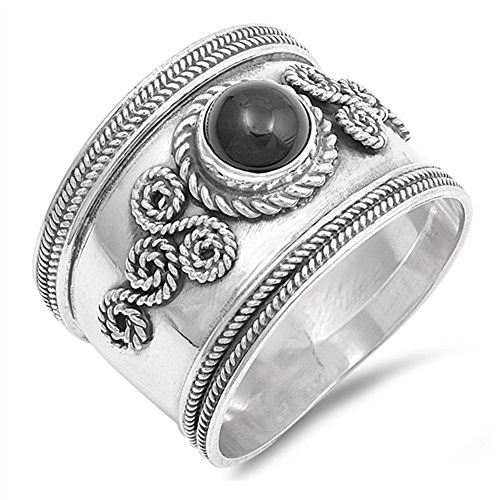 Wide Bali Simulated Black Onyx Ring New .925 Sterling Silver Infinity Rope Band Size 7 (Onyx Rope Ring)