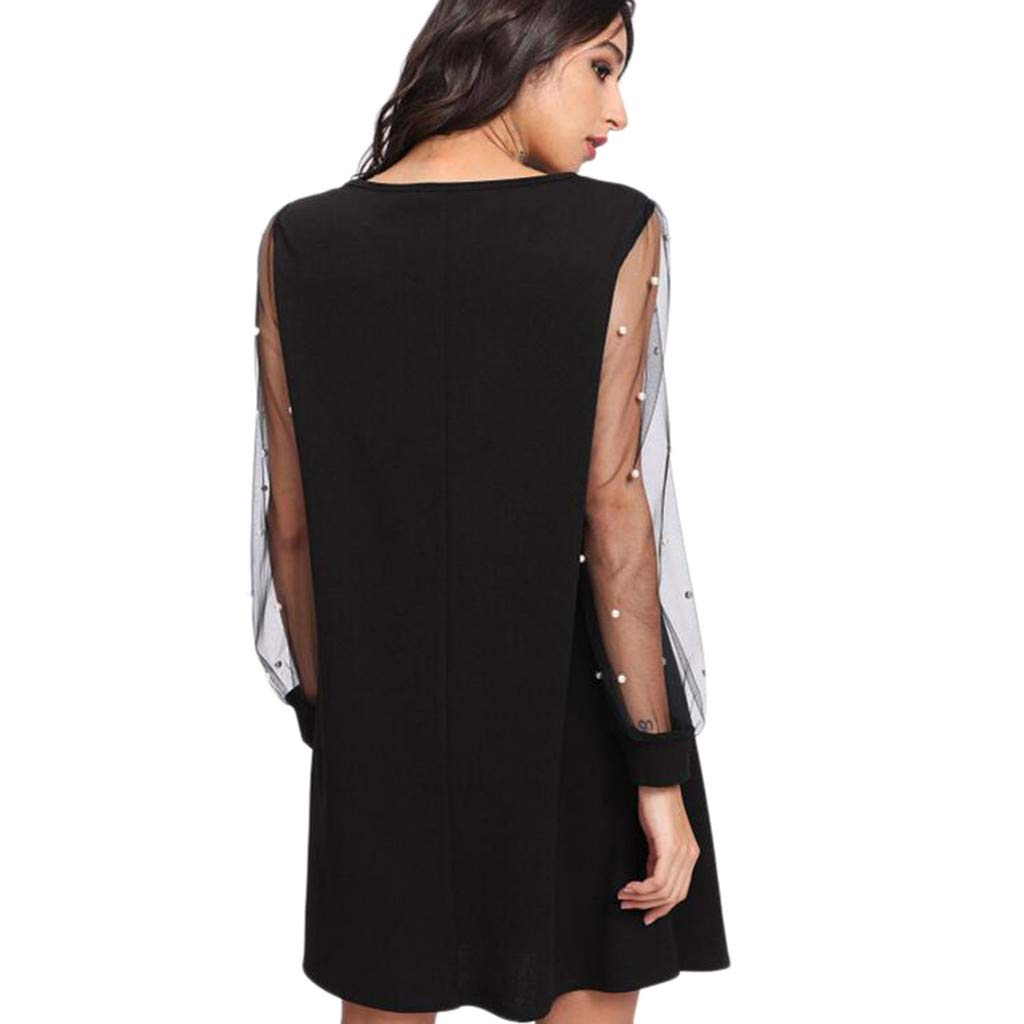 ABASSKY Womens Tunic Dress with Embroidered Floral Mesh Bishop Sleeve
