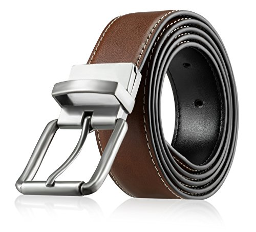 Men's Genuine Leather Dress Belt, Reversible Belt for Men Black/Brown Adjustable Size Up to Size - & Brown Black
