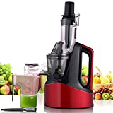 Electric Power Wide Chute Slow Masticating Juicer 240W 1.2L AC Motor 60 RPMs 3 Inches Large Mouth (Red)