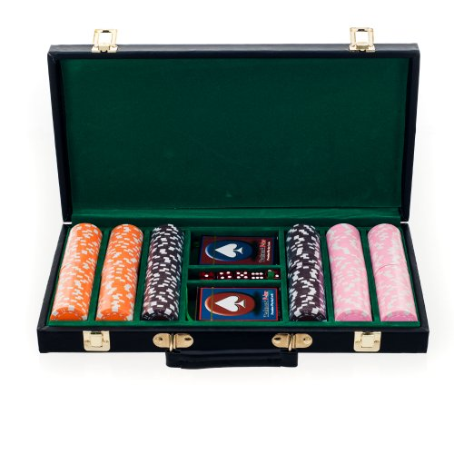 Big City Casino 300 Striped Dice Poker Chip Set with Black Case, Orange/Brown/Pink