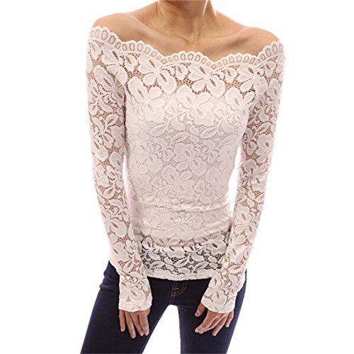 FANTIGO Womens Floral Lace Off Shoulder Top Long Sleeve Blouse White M