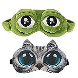 Sleep Mask for Girls Women Men Kids Funny Cute Contoured Blackout Frog Cat Dog Animal 3D Sleep Eye Mask for Sleeping 2 Pack TANBT