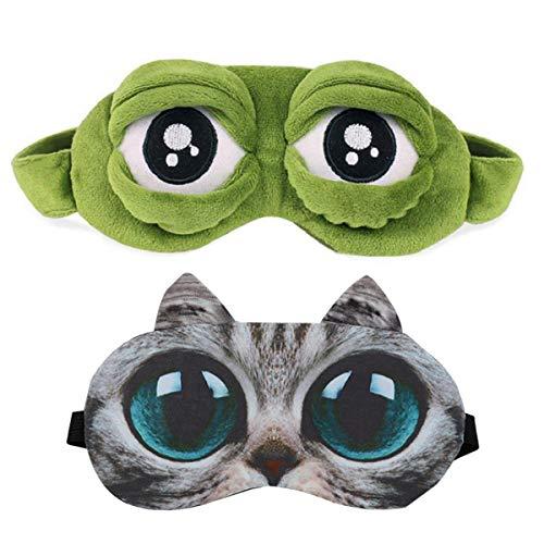 (Sleep Mask for Girls Women Men Kids Funny Cute Contoured Blackout Frog Cat Dog Animal 3D Sleep Eye Mask for Sleeping 2 Pack)