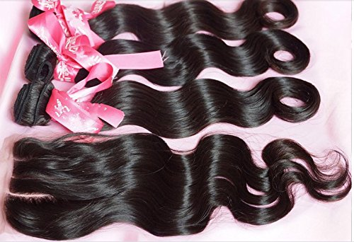 DaJun Hair 8A 3 Way Part Lace Closure with 3 Bundles Chinese Virgin Remy Human Hair Body Wave Natural Color 8''closure+14''14''14''weft by DaJun