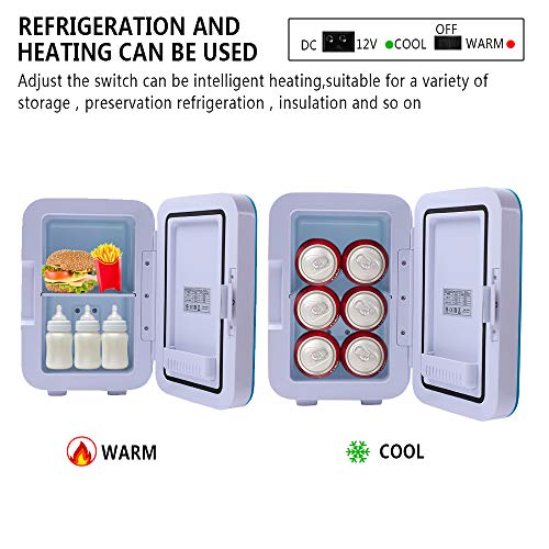 ZOKOP Electric Mini Portable Fridge, Cooler & Warmer Refrigerator (6L/ 8Can) AC 120V/DC 12V Thermoelectric System, for Home, Office, Car, Picnic, Camping, Outdoor (Blue) by OLYM STORE (Image #2)