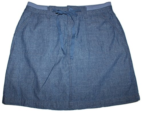 2 Button Stretch Skort (Faded Glory Women's Woven Skort Skirt with Knit Waist & Pockets (10, Chambray Blue))