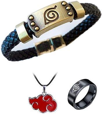 Anime Naruto PU Leather Bracelet /& Ring Cosplay Wristband