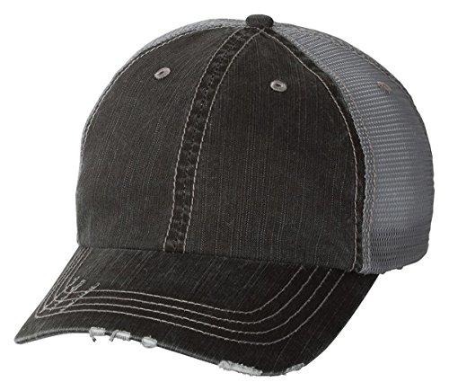 Mega Cap - Herringbone Unstructured Trucker Cap - 6990-Black/Grey