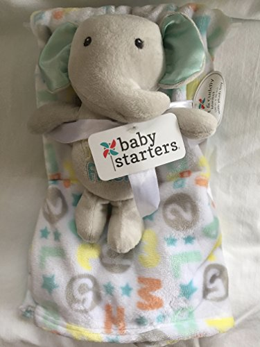 Baby Starters Plush Blanket and Elephant Toy (Grey, Mint Yellow Orange)