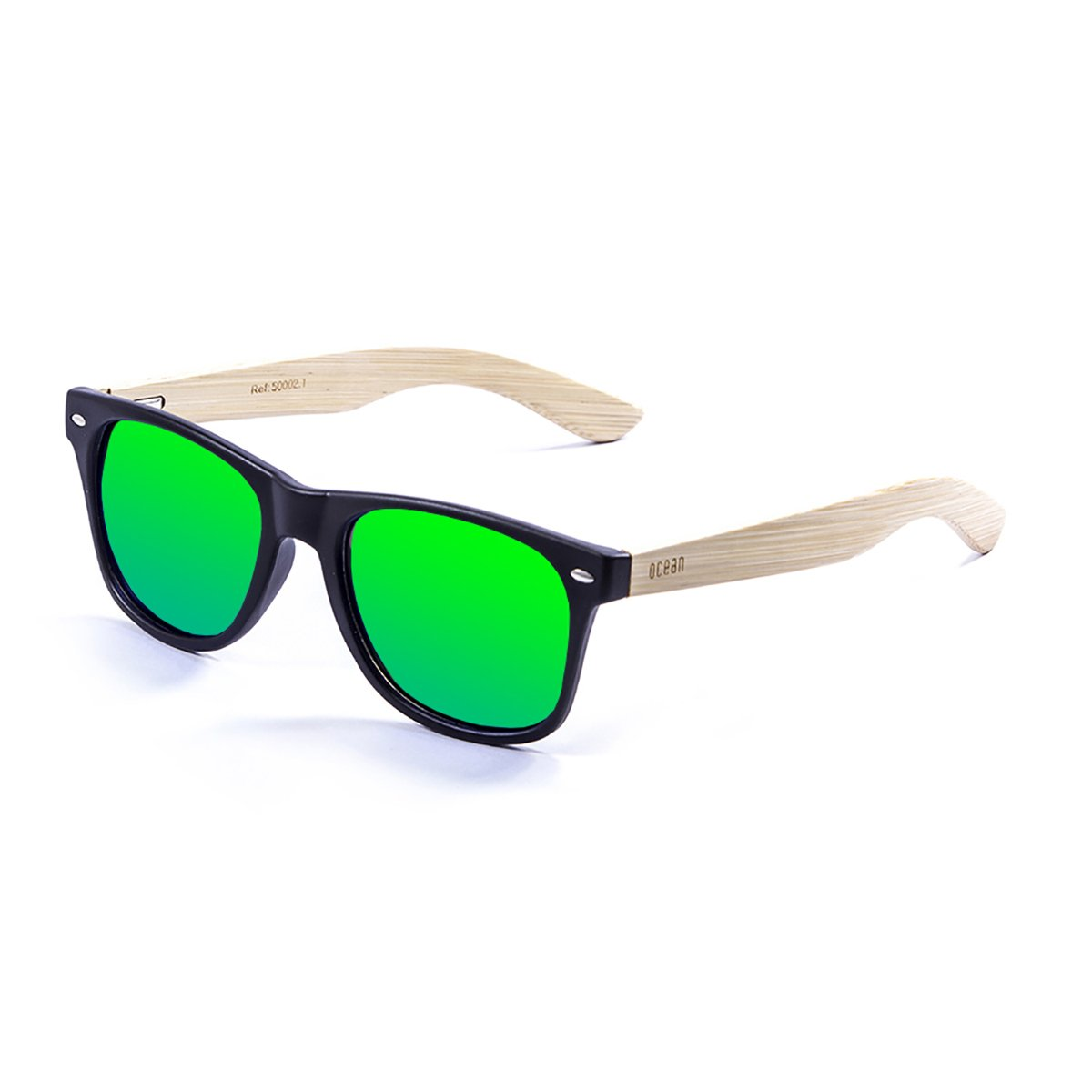 OCEAN SUNGLASSES Beach Lunettes de Soleil Bamboo Dark Frame/Wood Natural Arms/Revo Green Lens h0h6fw29