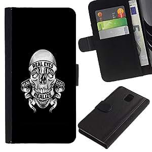 Samsung Galaxy Note 3 III N9000 N9002 N9005 , la tarjeta de Crédito Slots PU Funda de cuero Monedero caso cubierta de piel (Realize Lies Skull)