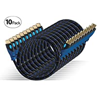 Aurum Ultra Series - High Speed HDMI Cable With Ethernet 10 PACK (10 Ft) - Supports 3D & Audio Return Channel [Latest Version] - 10 Feet - 10 Pack