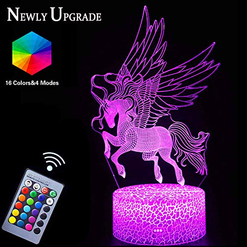 Unicorn Night Lights,3D Optical Illusion LED Lamps with Remote Control & RGB Colors Sleep Aid & Night Guidance Home Bedroom Decorations Bday Party,Christmas Gift Ideas for Girls Teen Mothers]()