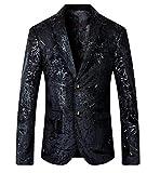 YUNY Men Long-Sleeve Checkered Leisure 2 Button Lapel Dress Suit Blazer M