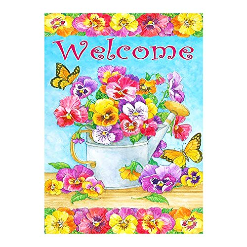 Bird Dragonfly House (Welcome Spring Flowers Blossoms Butterfly Sunflower Double Sided House Flag Garden Banner 28